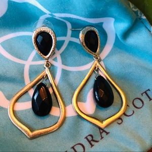 Kendra Scott Drop Earrings Black and Brushed Gold